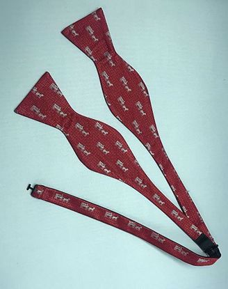 Picture of 100% Woven Silk Bowtie - Red with silver horse and carriage